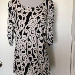 Alfani Black/White Chain Print Blouse